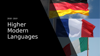 CfE Higher Modern Languages course outline 2018/19