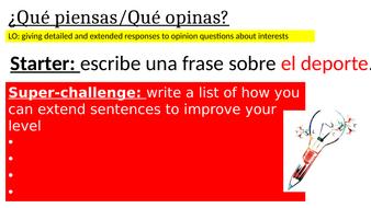 Improving writing - Extending opinions KS3