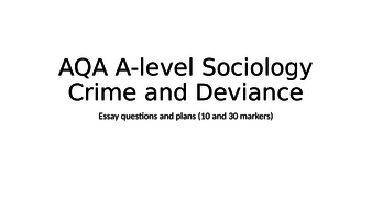 Aqa Alevel Sociology Crime And Deviance Essay Plans By Hattielord  Aqa Alevel Sociology Crime And Deviance Essay Plans