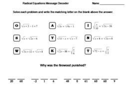 Solving Radical Equations Worksheet Math Message Decoder By