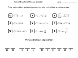 Solving Radical Equations Worksheet Math Message Decoder By