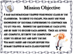 Simplifying Rational Expressions Game: Escape Room Math Activity