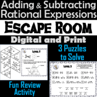 Adding and Subtracting Rational Expressions Game: Escape Room Math Activity
