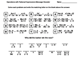 Operations with Rational Expressions Worksheet: Math Message Decoder ...