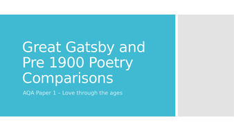 The Great Gatsby and Poetry Pre 1900 Comparison Powerpoint