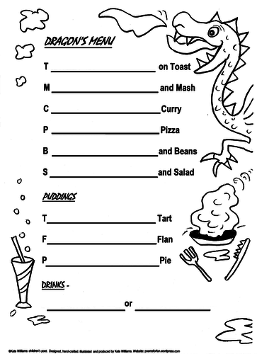 Dragon's Menu - food fun + alliteration sandwiched together for Ys2-6