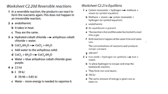 Reversible reactions and dynamic equilibrium by tkelleher2015 ...