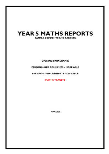 KS2 Maths Reports - Bank of Comments