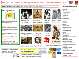 9-1 Edexcel History Learning/Topic Placemats  for Russia and the USSR - Topic 1