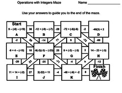 Operations with Integers Activity: Math Maze by