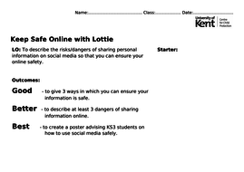 Online safety with 'Lottie' simulation screenshots by UoKCCP