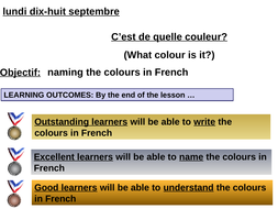Describe colours in French - early Y7 or perfect for Y6 Induction day