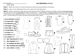 Les vetements worksheet cover lesson clothing clothes