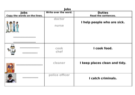 Jobs and Duties vocabulary for KS1 or pre entry Adults English language