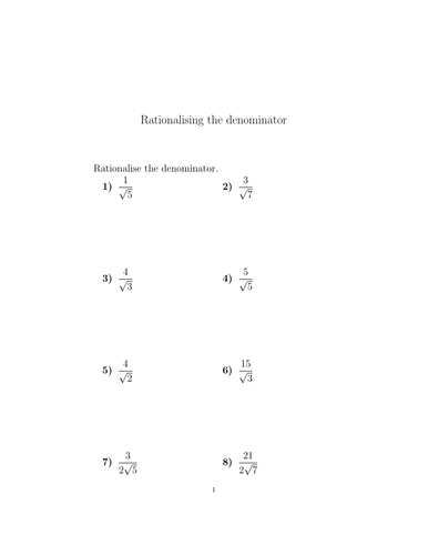 Surds Rationalising The Denominator Worksheets With Solutions Teaching Resources