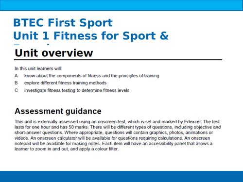 BTEC Sport Unit 1 Components of Fitness