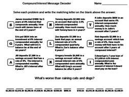 Compound Interest Worksheet: Math Message Decoder
