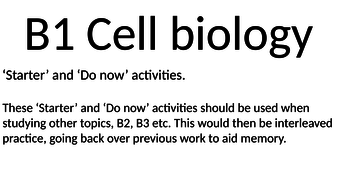 AQA B1 Starter / Do Now activities