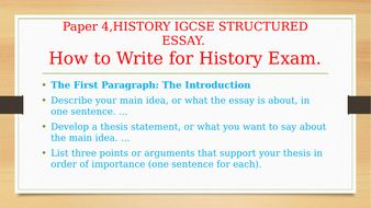 history paper 4 structured essay writing