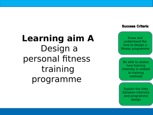 BTEC Sport Unit 5 Training Programme Design