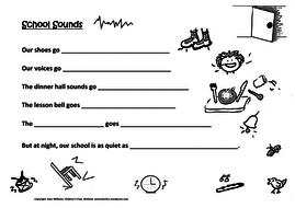 Our School Sounds - fun writing sheet for Ys 2-4: onomatopoeias