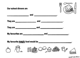 Our School Dinners - Fun, Food-Focused Writing Sheet for Ys 2+3