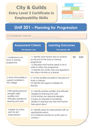 City & Guilds Unit 301 - Planning For Progression - Workbook/Final Assignment