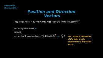 Position and direction vectors