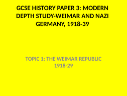 GCSE History Weimar and Nazi Germany Knowledge Tests