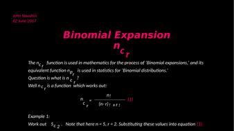 ncr Binomial expansion
