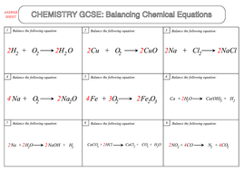 GCSE Chemistry Worksheet: Balancing Chemical Equations by beckystoke ...