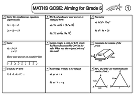 GCSE Maths Revision Sample Sheet: Aiming for Grade 5 by beckystoke ...