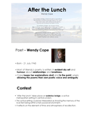 After the Lunch - Wendy Cope - Quick Revision Slides
