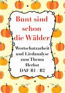 Bunt sind schon die Wälder - German folk song worksheet, word study, exercises + crossword, Herbst