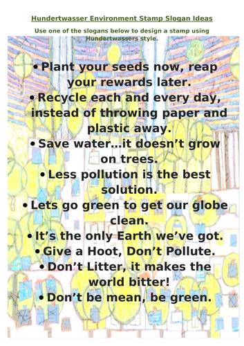 Hundertwasser Environmental Stamp Design Activity & worksheet.