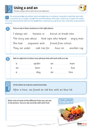 Using 'a' and 'an' with nouns and adjectives worksheet - Year 2 Spag