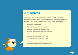 Adjectives Teaching Presentation - Year 2 Spag