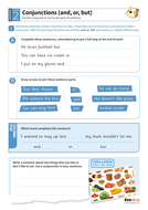 Using conjunctions 'and or but' worksheet - Year 2 Spag