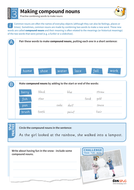 Making compound nouns worksheet - Year 3 Spag