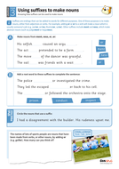 Using suffixes to make nouns worksheet - Year 3 Spag
