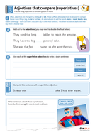 Using adjectives that compare a group of nouns worksheet - Year 3 Spag