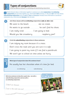 Using different types of conjunctions worksheet - Year 3 Spag