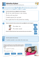 Using adverbs of place worksheet - Year 3 Spag