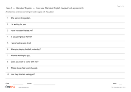 Standard English Question Sheets - Year 4 Spag