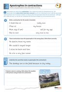 Apostrophes in contractions worksheet - Year 4 Spag
