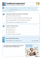 Conditional conjunctions worksheet - Year 5 Spag