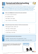 Formal and informal writing worksheet - Year 6 Spag