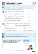 Subjunctive mood worksheet - Year 6 Spag
