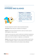 Hyphens and Slashes - Teacher/Parent Spag Guide
