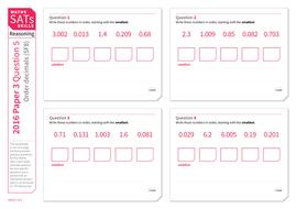 ordering decimal numbers ks2 maths sats reasoning practice worksheet by tes elements. Black Bedroom Furniture Sets. Home Design Ideas